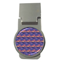 Pink Blue Waves Pattern Money Clip (round) by LalyLauraFLM