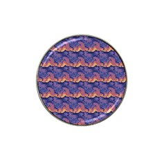 Pink Blue Waves Pattern Hat Clip Ball Marker by LalyLauraFLM