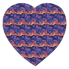 Pink Blue Waves Pattern Jigsaw Puzzle (heart) by LalyLauraFLM