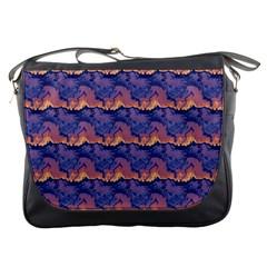 Pink Blue Waves Pattern Messenger Bag by LalyLauraFLM