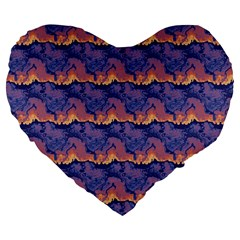Pink Blue Waves Pattern 19  Premium Heart Shape Cushion by LalyLauraFLM