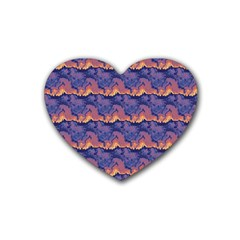 Pink Blue Waves Pattern Heart Coaster (4 Pack) by LalyLauraFLM