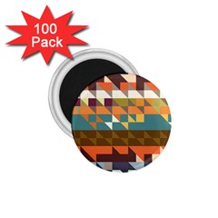 Shapes In Retro Colors 1 75  Magnet (100 Pack)  by LalyLauraFLM