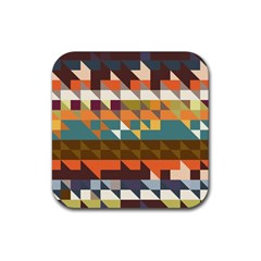 Shapes In Retro Colors Rubber Coaster (square) by LalyLauraFLM