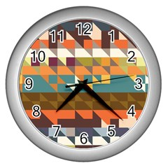 Shapes In Retro Colors Wall Clock (silver) by LalyLauraFLM