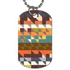 Shapes In Retro Colors Dog Tag (one Side) by LalyLauraFLM