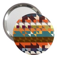 Shapes In Retro Colors 3  Handbag Mirror by LalyLauraFLM
