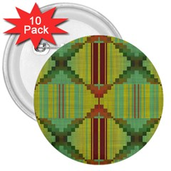 Tribal Shapes 3  Button (10 Pack) by LalyLauraFLM
