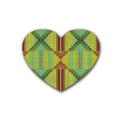 Tribal Shapes Rubber Coaster (heart) by LalyLauraFLM