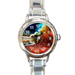 Abstract On The Wisconsin River Round Italian Charm Watch