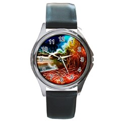 Abstract On The Wisconsin River Round Leather Watch (silver Rim)