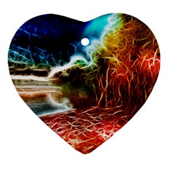 Abstract On The Wisconsin River Heart Ornament by bloomingvinedesign