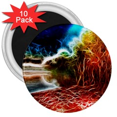 Abstract On The Wisconsin River 3  Button Magnet (10 Pack) by bloomingvinedesign