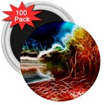 Abstract on the Wisconsin River 3  Button Magnet (100 pack) Front