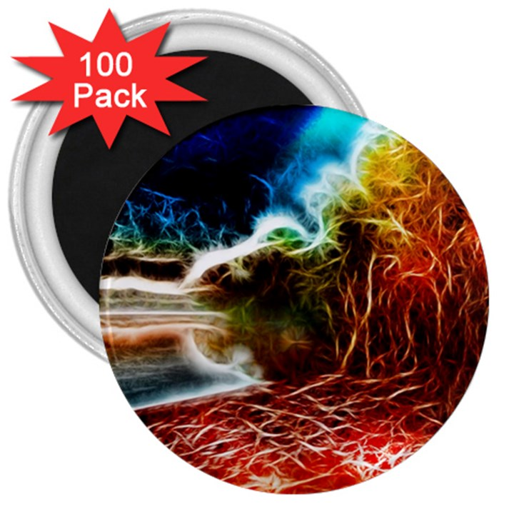 Abstract on the Wisconsin River 3  Button Magnet (100 pack)