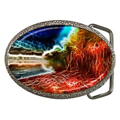 Abstract On The Wisconsin River Belt Buckle (oval) by bloomingvinedesign