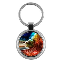 Abstract On The Wisconsin River Key Chain (round)