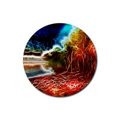 Abstract On The Wisconsin River Drink Coasters 4 Pack (round)