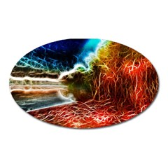 Abstract On The Wisconsin River Magnet (oval) by bloomingvinedesign