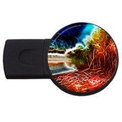 Abstract on the Wisconsin River 2GB USB Flash Drive (Round) by bloomingvinedesign