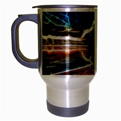 Abstract On The Wisconsin River Travel Mug (silver Gray) by bloomingvinedesign
