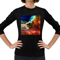 Abstract On The Wisconsin River Women s Long Sleeve T Shirt (dark Colored) by bloomingvinedesign