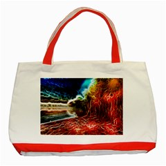 Abstract On The Wisconsin River Classic Tote Bag (red) by bloomingvinedesign