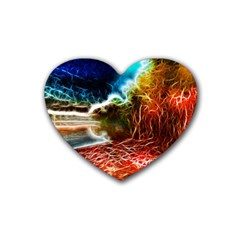Abstract On The Wisconsin River Drink Coasters 4 Pack (heart)  by bloomingvinedesign