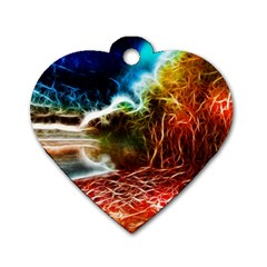 Abstract On The Wisconsin River Dog Tag Heart (two Sided)