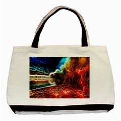 Abstract On The Wisconsin River Twin Sided Black Tote Bag by bloomingvinedesign