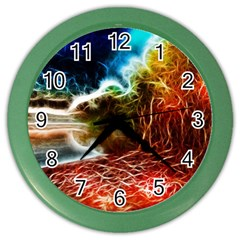 Abstract On The Wisconsin River Wall Clock (color) by bloomingvinedesign