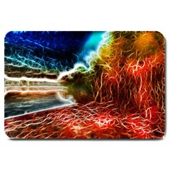 Abstract On The Wisconsin River Large Door Mat
