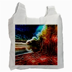 Abstract On The Wisconsin River White Reusable Bag (one Side) by bloomingvinedesign