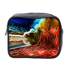 Abstract On The Wisconsin River Mini Travel Toiletry Bag (two Sides)