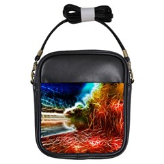 Abstract On The Wisconsin River Girl s Sling Bag by bloomingvinedesign