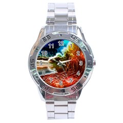 Abstract On The Wisconsin River Stainless Steel Watch by bloomingvinedesign