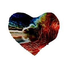Abstract On The Wisconsin River 16  Premium Flano Heart Shape Cushion  by bloomingvinedesign
