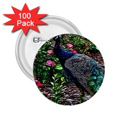 Peacock With Roses 2 25  Button (100 Pack) by bloomingvinedesign