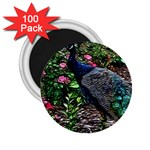 Peacock with roses 2.25  Button Magnet (100 pack) Front