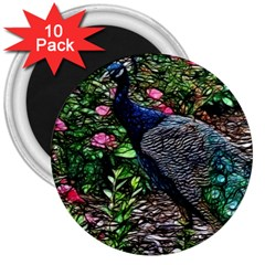 Peacock With Roses 3  Button Magnet (10 Pack) by bloomingvinedesign