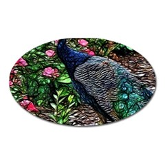 Peacock With Roses Magnet (oval) by bloomingvinedesign
