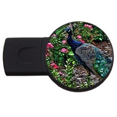 Peacock with roses 1GB USB Flash Drive (Round) by bloomingvinedesign