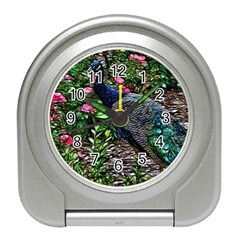Peacock With Roses Desk Alarm Clock by bloomingvinedesign