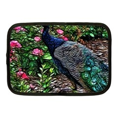 Peacock With Roses Netbook Sleeve (medium) by bloomingvinedesign