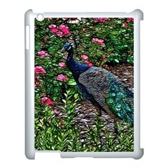 Peacock With Roses Apple Ipad 3/4 Case (white) by bloomingvinedesign
