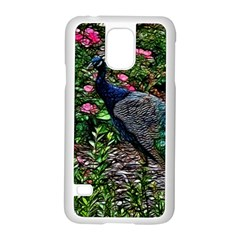 Peacock with roses Samsung Galaxy S5 Case (White) by bloomingvinedesign