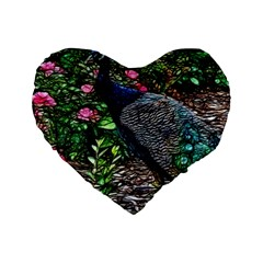 Peacock With Roses 16  Premium Flano Heart Shape Cushion  by bloomingvinedesign