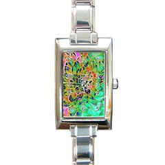 Abstract Peacock Chrysanthemum Rectangular Italian Charm Watch by bloomingvinedesign