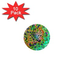 Abstract Peacock Chrysanthemum 1  Mini Button Magnet (10 Pack) by bloomingvinedesign