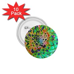 Abstract Peacock Chrysanthemum 1 75  Button (10 Pack) by bloomingvinedesign